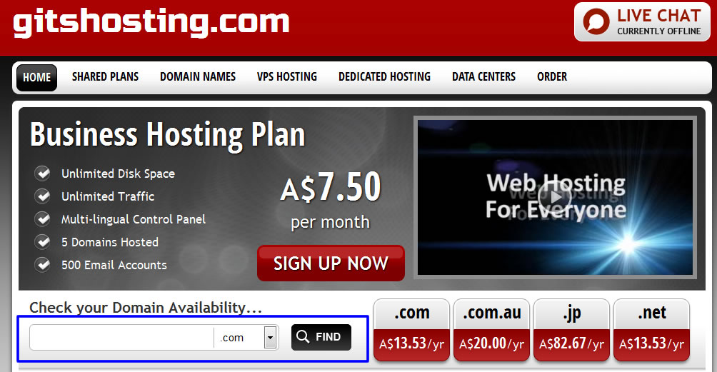 Hosting plans provided by GITS Web Hosting